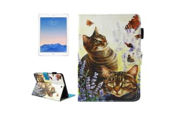 For iPad 2018 2017 Wallet Case Cats Butterflies Smart Durable Leather Cover