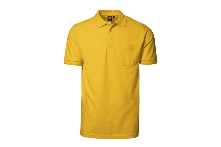 ID Mens Pro Wear Short Sleeve Regular Fitting Polo Shirt With Pocket (Yellow) (2XL)
