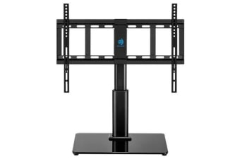 Huanuo HN-TVS02 Free Standing TV Stand Designed with a heavy duty steel pole and tempered glass base