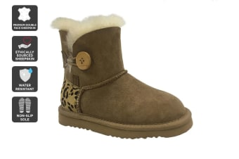 Outback Ugg Kids Button - Premium Double Face Sheepskin (Leopard)
