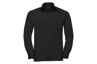 Russell Collection Mens Long Sleeve Shirt (Black)