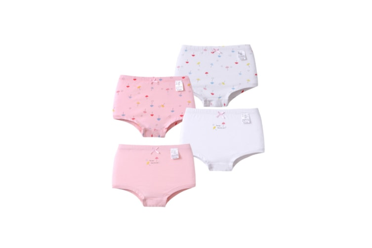 4Pcs Girls Underwear Set Soft Cotton Breathable Briefs - 2 Pink 90Cm