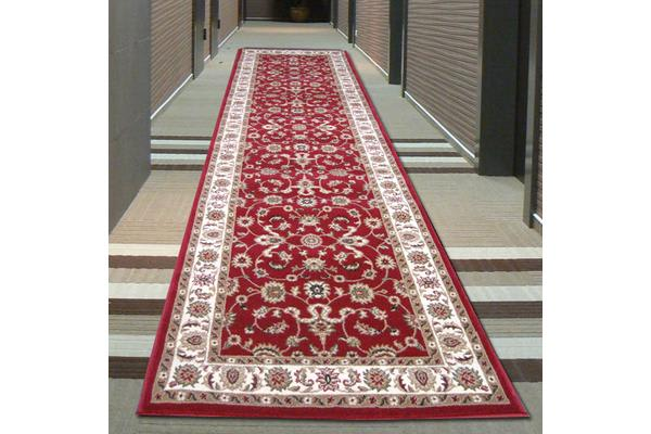 Classic Runner Red with Ivory Border 300x80cm