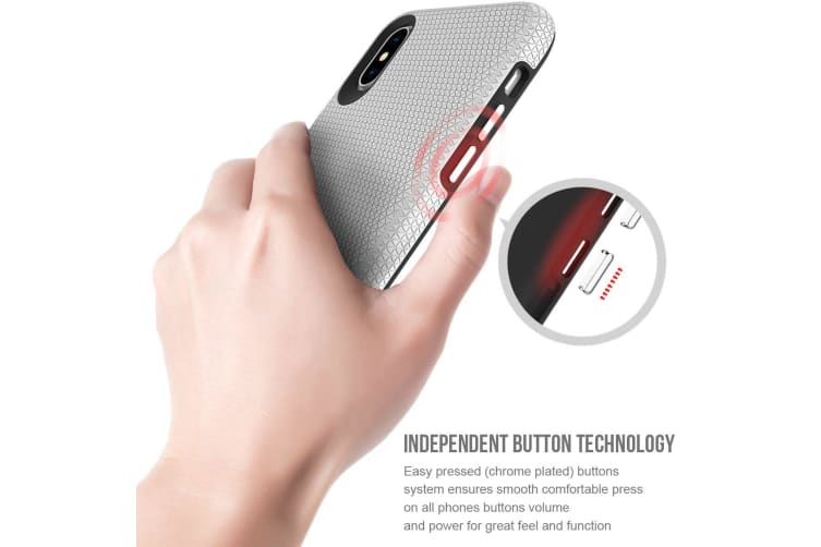 For iPhone XS & X Case  Armor Silver Slim Shockproof Protective Phone Cover