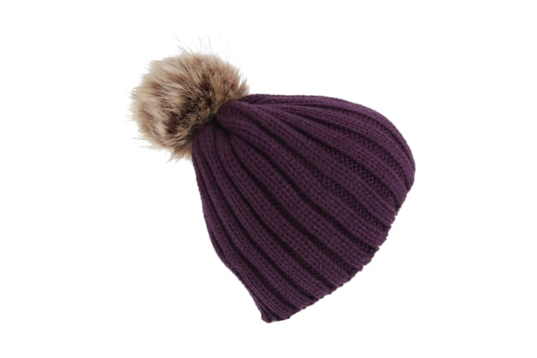 Childrens Girls Cable Knit Faux Fur Pom Pom Winter Beanie Hat (Purple) (One Size)