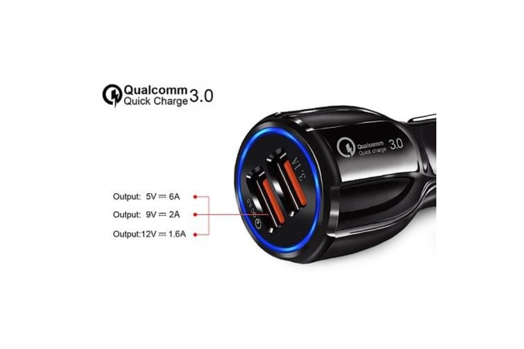 Quick Car Charger With 2 USB Port-White