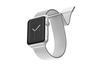 X-Doria Stainless Steel Mesh Wrist Band Strap For 44mm-42mm Apple iWatch Silver