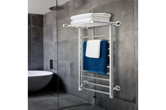 Heated Towel Rail Bathroom Stainless Steel Electric Rails Warmer Clothes 14 Rack
