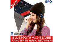 Bluetooth Beanie V3.0 Wireless Handsfree Phone Music Receiver Knitted Hat Black