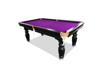 8FT Luxury Slate Pool Table Solid Timber Billiard Table Professional Snooker Game Table with Accessories Pack, Black Frame / Purple Felt