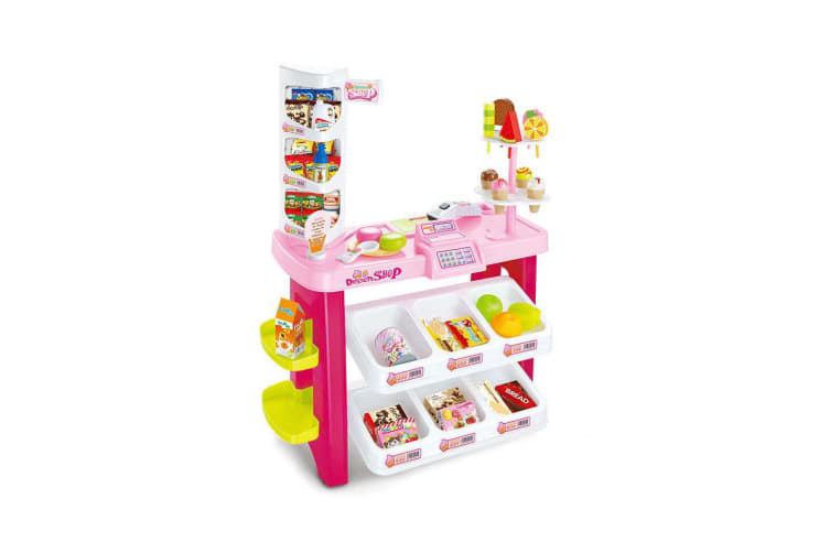 Kids Supermarket Pretend Play Ice cream Dessert Shop Toys Set Scanner Register Red