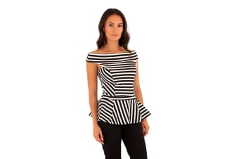Lili London Womens/Ladies Spirit Striped Bardot Peplum Top (Black/Cream)