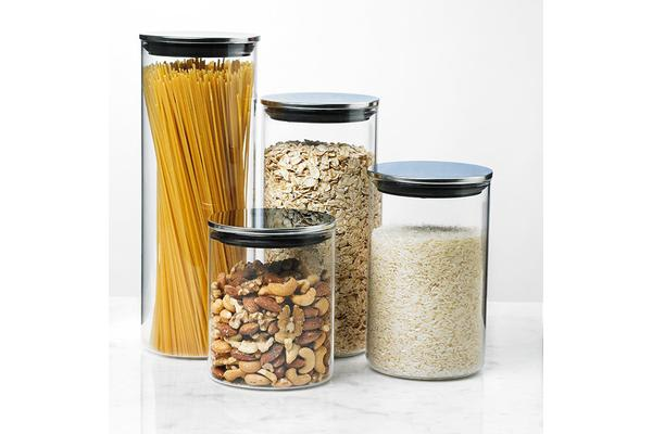 Davis & Waddell Glass Canister w/ S/S Lid Set of 4