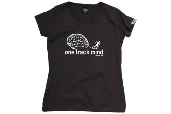 Personal Best Running Tee - One Track Mind - (Small Black Womens T Shirt)