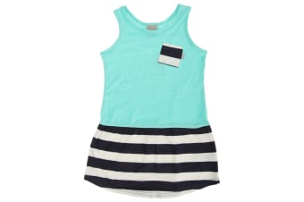 Bench Childrens/Girls Dramatic Marl Dress With Contrast Pocket (Turquoise/Navy)