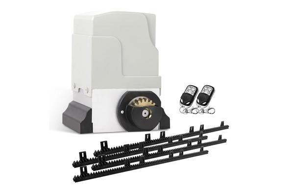 550W Automatic Sliding Gate Opener Kit with 4 Rails (White)