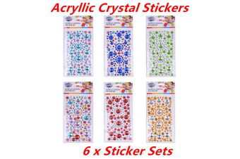 6 x Crystal Stickers Rhinestone Gems Self Adhesive Stick on Crystals Craft Colors
