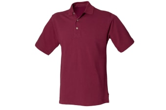 Henbury Mens Classic Plain Polo Shirt With Stand Up Collar (Burgundy)