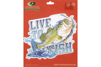 Mossy Oak Peel Sticker 'live To Fish' Bass
