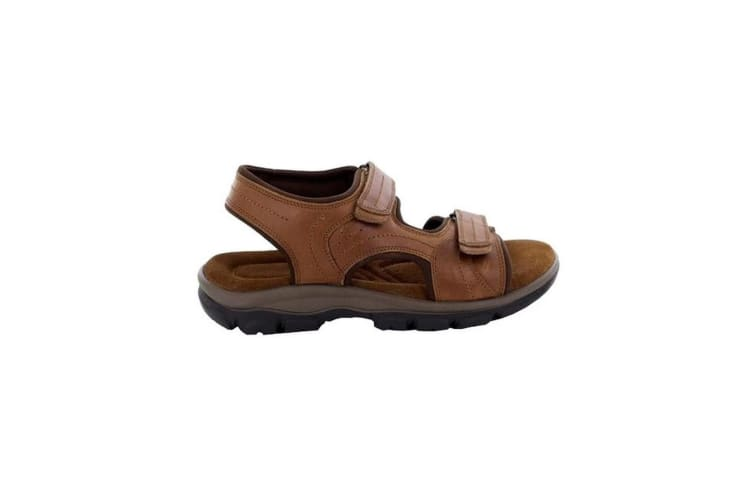 Roamers Mens Leather Twin Touch Fastening Sandal (Tan) (8 UK)
