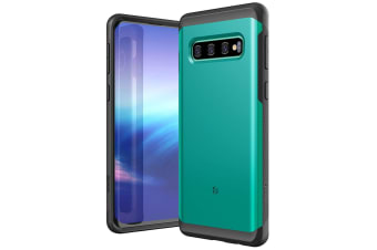 ZUSLAB Galaxy S10 Plus Hybrid Shield Case Shockproof with Built in Soft TPU Rubber Cover for Samsung - Lake Green