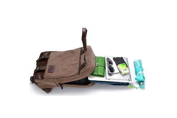 "Colour Pack Canvas Series 15.6"" Notebook Laptop School travel Canvas Backpack ( Khaki Brown) 26cm x"