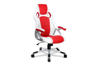 Artiss PU Leather Padded Office Computer Chair - Red