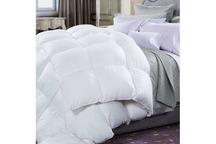 50% Duck Feather & 50% Duck Down Quilt 500GSM + Duck Pillows Twin Pack Combo - King - White