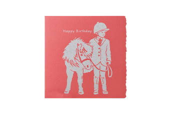 Deckled Edge Colour Block Pony Greetings Card (Happy Birthday - Child with Pony (Red))