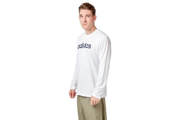 Adidas Men's Logo Long Sleeve Tee (White, Size L)