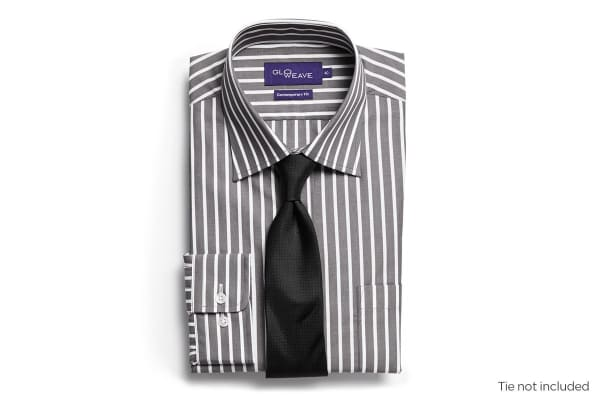 Gloweave Men's Contemporary Fit Striped Business Shirt - Charcoal (Size 42)