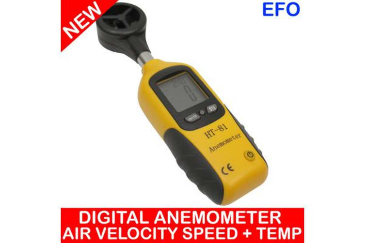 Digital Anemometer Wind Speed Air Velocity Temperature Sensor Thermometer Ht-81