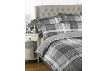 Riva Home Clubhouse Check Duvet Set (Charcoal) (Double)