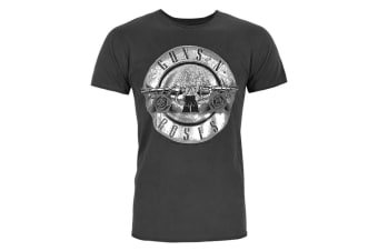 Amplified Official Mens Guns N Roses Foil Drum T-Shirt (Charcoal/Silver)