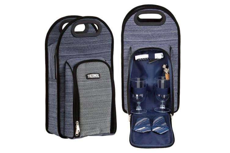 Thermos Insulated 2 Wine Bottle BYO Cooler Bag Storage Handbag Carrier Set Grey