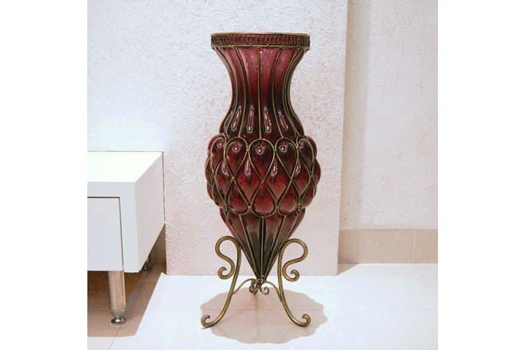 SOGA 65cm Purple Glass Tall Floor Vase with Metal Flower Stand