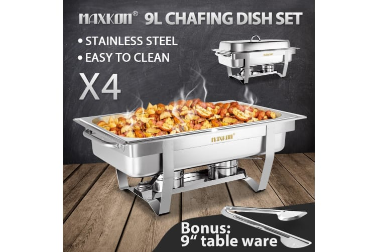 Fantastic 4 Sets 9L Chafing Dishes Stainless Steel Buffet Set Interior Design Ideas Apansoteloinfo