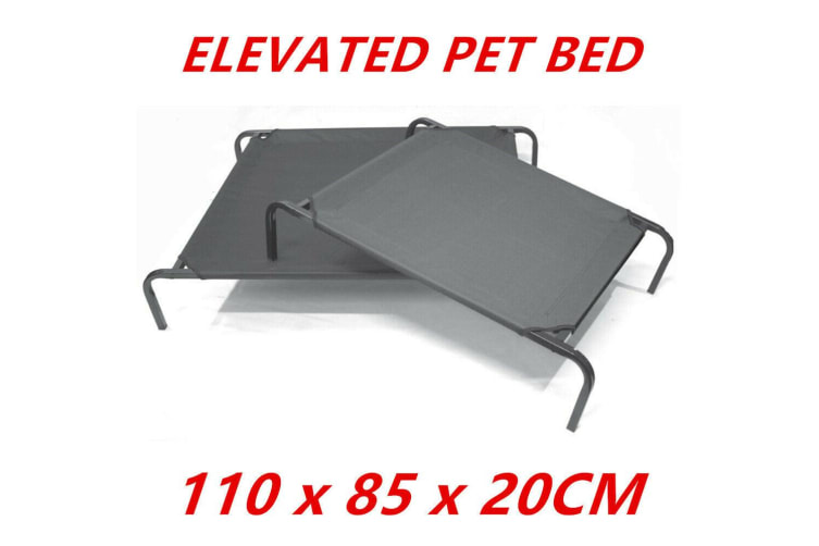 Bed Elevated Pet Dog Cot Outdoor Indoor Large Raised Frame Steel Camping 110cm D