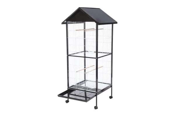 Large Stand-Alone Bird Cage on Wheels with Apex Roof - 170cm Tall