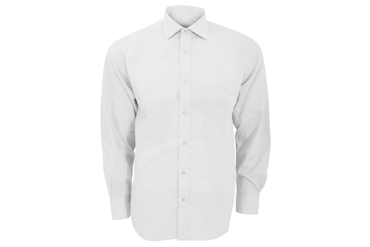Kustom Kit Mens Premium Non Iron Long Sleeve Shirt (White) (15inch)