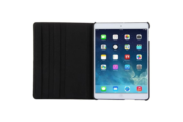 For iPad 2018 2017 9.7in Case Rotatable Lychee Leather Shielding Cover Black