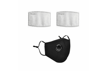 Black Washable Reusable N95 Anti Air Pollution Face Mask With Respirator &2 Filters-1 Packs