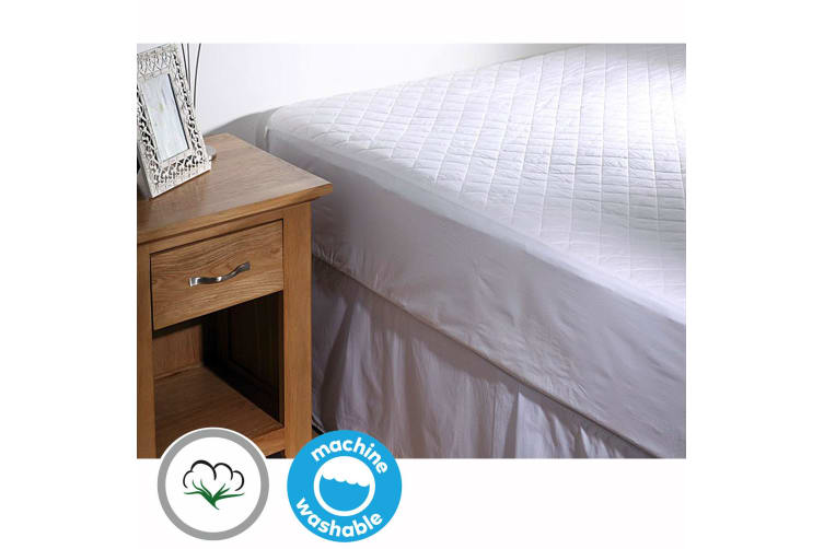 100% COTTON Quilted Mattress Protector 35cm Wall QUEEN