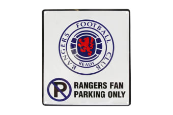 Rangers FC Official No Parking Metal Sign (White)