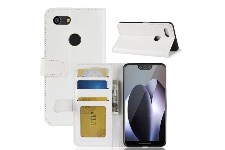 For Google Pixel 3XL Leather Wallet Case White WildHorse Texture Cover Card Slot