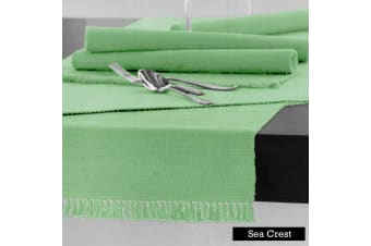 100% COTTON Ribbed Table Runner Sea Crest 45 x 150cm