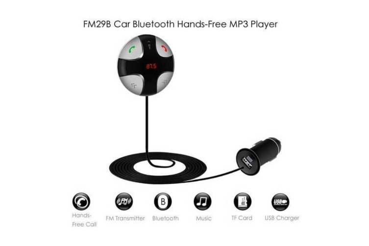 Car Bluetooth FM Transmitter/Charger/Mic Hands-Free Call/Music for iPhone/Galaxy