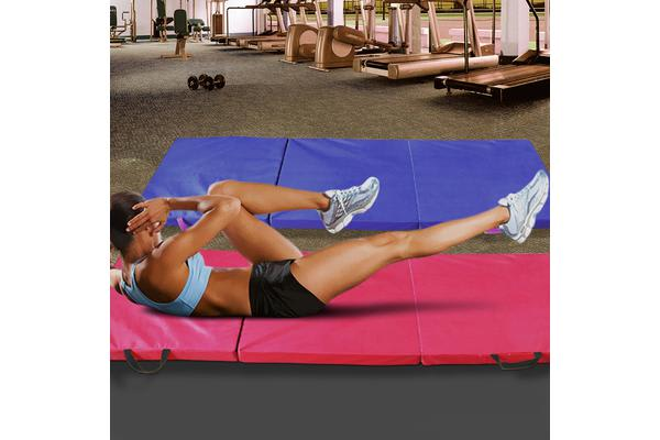 Folding Exercise Floor Mat Dance Yoga Gymstics Blue