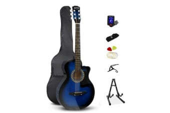 38 Inch Wooden Folk Acoustic Guitar (Blue)