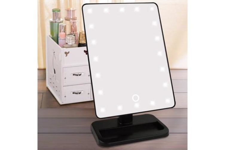 20 Led Light Make Up Cosmetic Mirror W/ 10X Magnification Battery Power Black